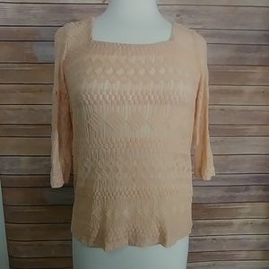 Lucky Brand sheer embroidered elbow sleeve top XS